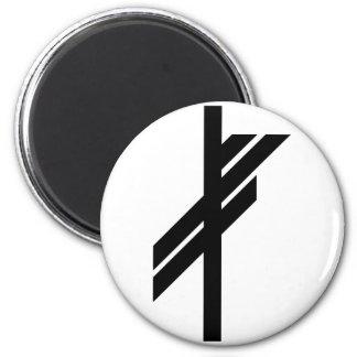Viking Rune - Luck - black 6 Cm Round Magnet
