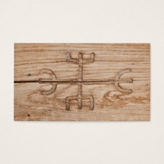 Viking rune on cracked wood business card