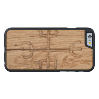 Viking rune on cracked wood carved maple iPhone 6 case