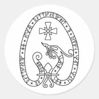 Viking Rune Stone black wild duck white Round Sticker