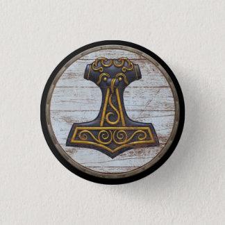 Viking Shield Emblem - Thor's Hammer 3 Cm Round Badge