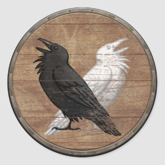 Viking Shield Sticker - Odin s Ravens