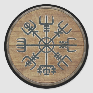 Viking Shield - Vegvísir Round Sticker
