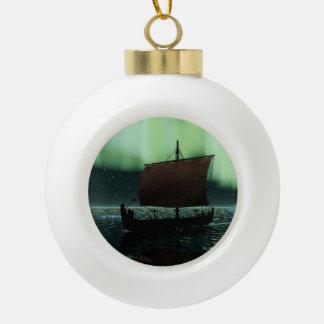 Viking Ship And Northern Lights Ceramic Ball Decoration