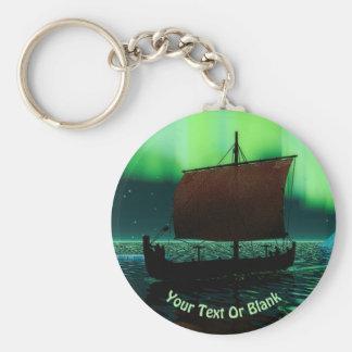 Viking Ship And Northern Lights Key Ring