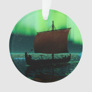 Viking Ship And Northern Lights Ornament