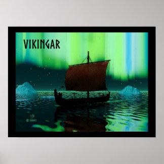 Viking Ship And Northern Lights Poster