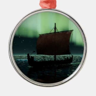 Viking Ship And Northern Lights Silver-Colored Round Decoration