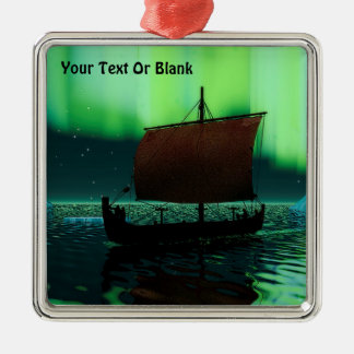Viking Ship And Northern Lights Silver-Colored Square Decoration
