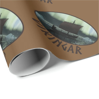 Viking Ship And Northern Lights Wrapping Paper