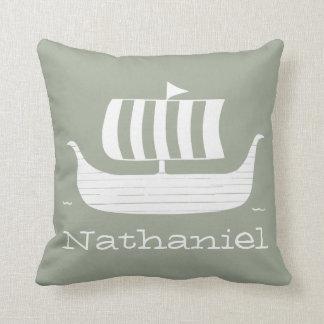 Viking ship/longboat w/custom background color cushion