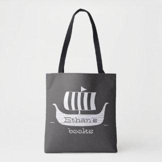 Viking ship longboat w/custom background color tote bag