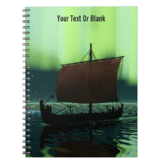 Viking Ship Under Northern Lights Notebook