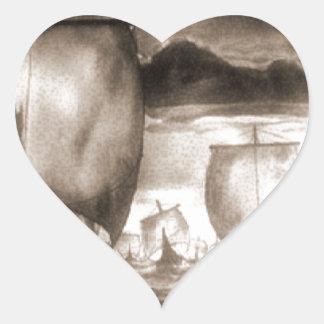 VIKING SHIPS HEART STICKER