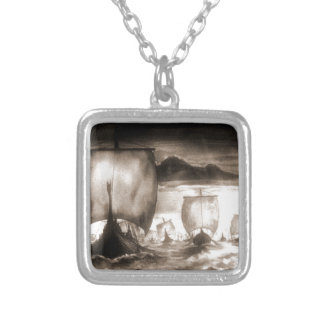 VIKING SHIPS SILVER PLATED NECKLACE