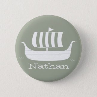 Viking ships with custom background color 6 cm round badge