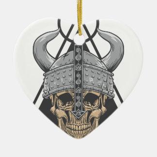 Viking Skull Ceramic Ornament