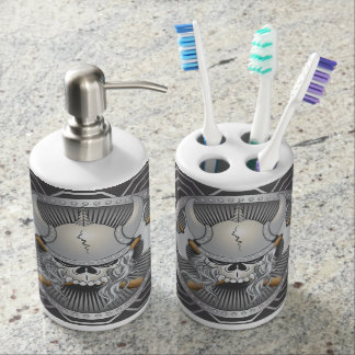 Viking Skull Soap Dispenser And Toothbrush Holder