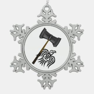 Viking War Hammer Pewter Snowflake Decoration