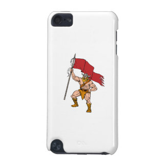 Viking Warrior Brandishing Red Flag Retro iPod Touch (5th Generation) Cover