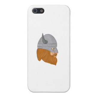 Viking Warrior Head Right Side View Drawing Cover For iPhone 5/5S