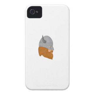 Viking Warrior Head Right Side View Drawing iPhone 4 Case-Mate Cases