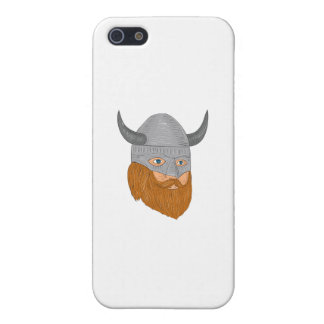 Viking Warrior Head Three Quarter View Drawing iPhone 5 Cover