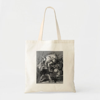 Viking Woman with Spear and Winged Helmet Canvas Bag