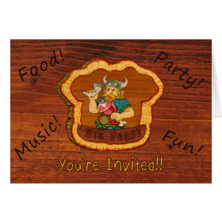 Viking Wooden background Party invitation and card