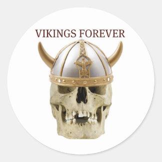VIKINGS FOREVER...FUNNY SKULL AND HELMET PRINT CLASSIC ROUND STICKER