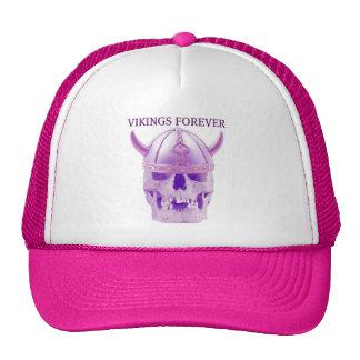 VIKINGS FOREVER PURPLE SKULL AND HELMET MESH HAT