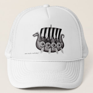 Vikings in Drekar black and white pen ink drawing Trucker Hat