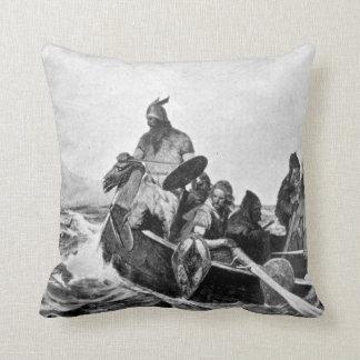 Vikings Landing in Iceland Illustration (1909) Cushion