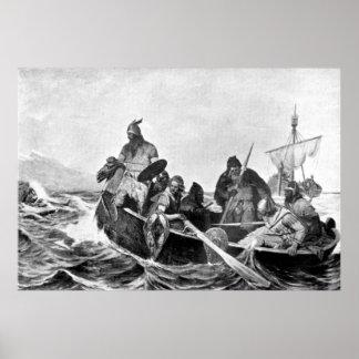 Vikings Landing in Iceland Illustration (1909) Poster
