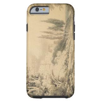 Villa d Este c 1796 blue grey wash over graphi iPhone 6 Case