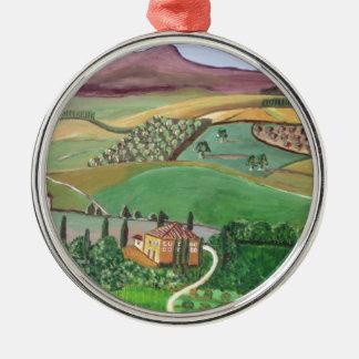 Villa in the Hill Metal Ornament