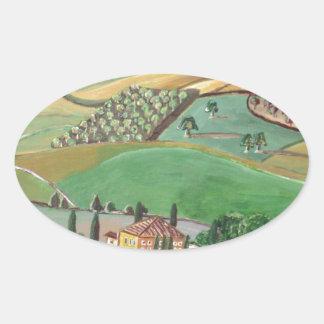 Villa in the Hill Oval Sticker
