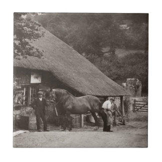 Village blacksmith vintage photo tile