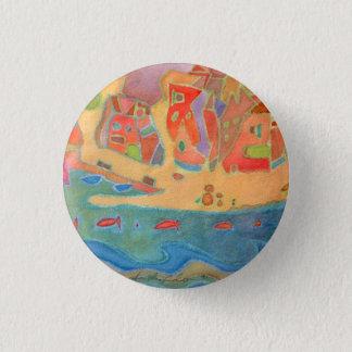 Village by the sea 3 cm round badge