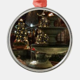Village Fountain Silver-Colored Round Decoration
