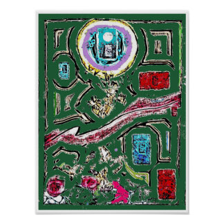 Village Green Abstract Expressionism Poster