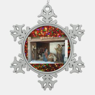 Village Nativity Snowflake Pewter Christmas Ornament