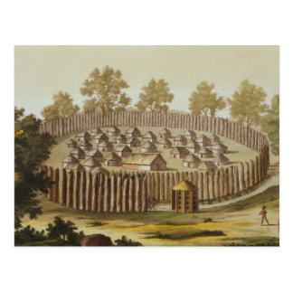 Village of an Indigenous Tribe in Florida, engrave Postcard