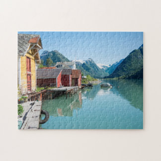 Village of Fjærland and a fjord in Norway jigsaw Jigsaw Puzzle