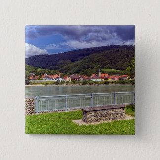 Village of Willendorf on the river Danube, Austria 15 Cm Square Badge