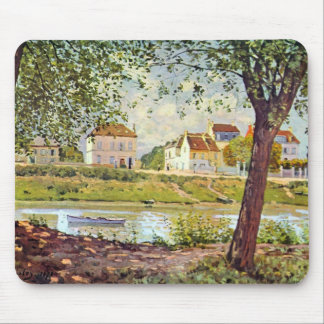 Village on the banks of the Seine by Alfred Sisley Mouse Pads