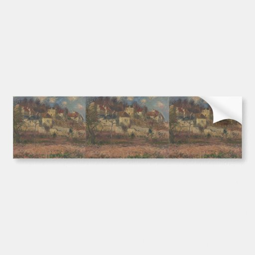 Village on the hill by Gustave Loiseau Bumper Sticker