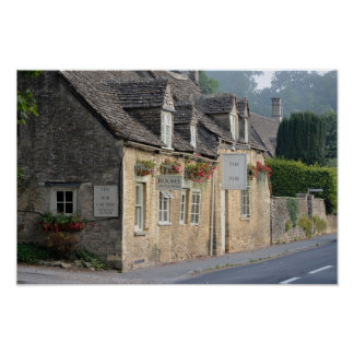 Village pub in the Cotswolds poster print