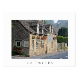 Village pub in the Cotswolds white postcard