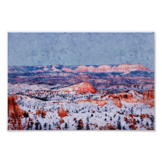 Village Snow Oil Painting Poster